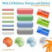 Button, Briefmarken und Aufkleber für Photoshop