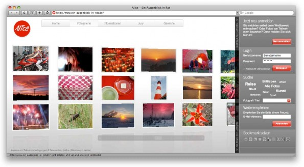 Ein Augenblick in Rot Interface