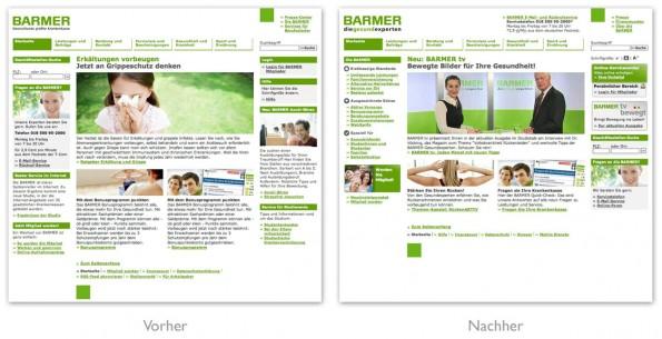 Design - BARMER Homepage Vergleich