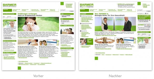BARMER Homepage Vergleich