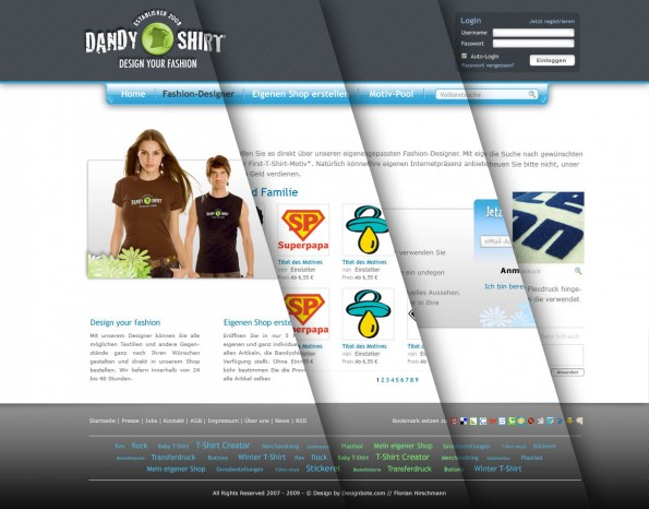 Design - Dandy-Shirt Web 2.0 PSD Vorlage