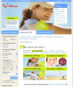 Zum Vergleich: Die Website von TUI