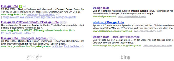 Suchergebnisse - Vergleich Google / bing