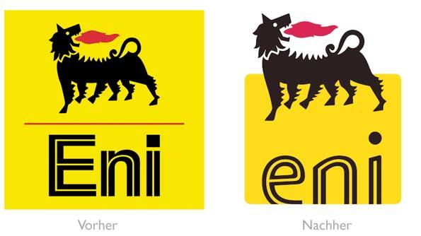 Design - eni Logo vorher/nachher