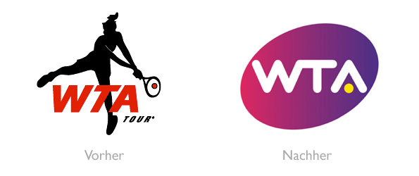 Design - WTA Logo vorher und nachher