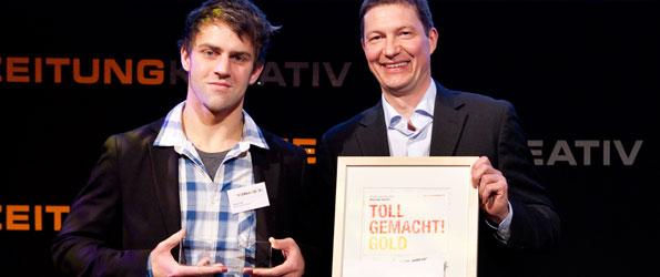 Dennis Galle (li.) mit Laudator Markus Ruppe, GF der ZMG Zeitungs Marketing Gesellschaft