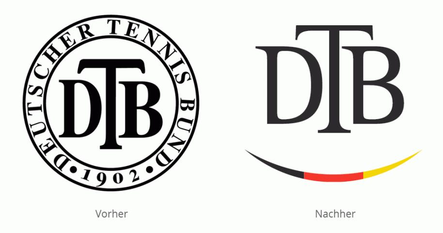 Logo Deutscher Tennis Bund (DTB) vorher/nachher