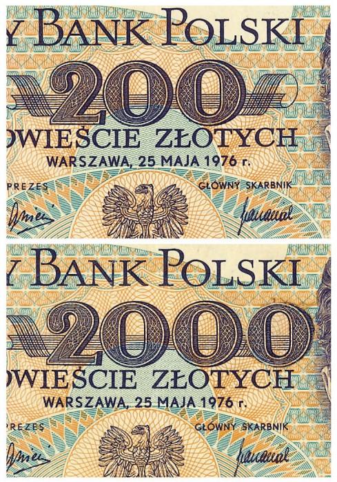 Polnischer 200-Zloty-Schein, 1976, Original (oben), Fälschung (unten), (c) HVB Stiftung Geldscheinsammlung, München
