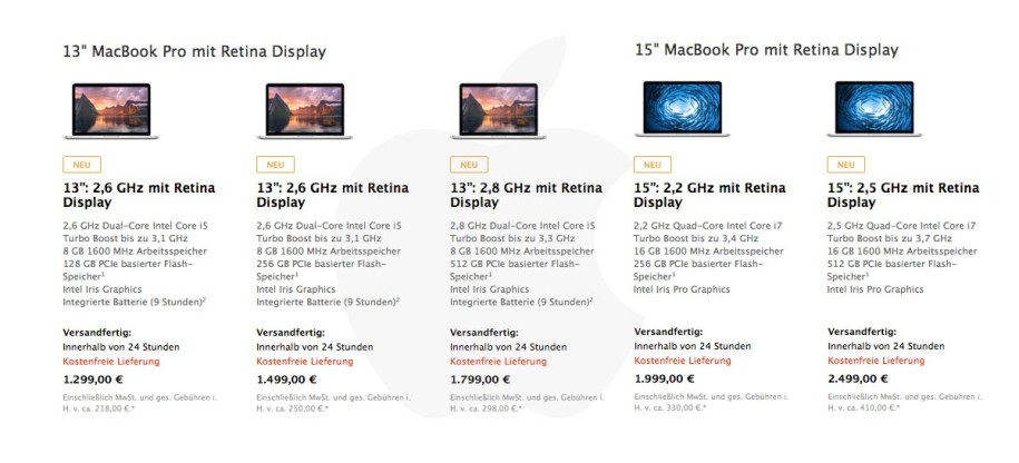 Neue MacBook Pro 2014