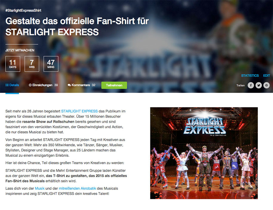 Fan-Shirt für Starlight Express Designen