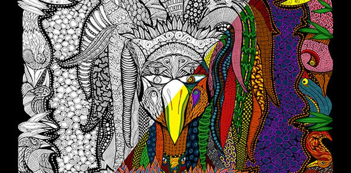 DoodleArt_Lady_of_Feathers_Poster_Half_Coloured_710x335