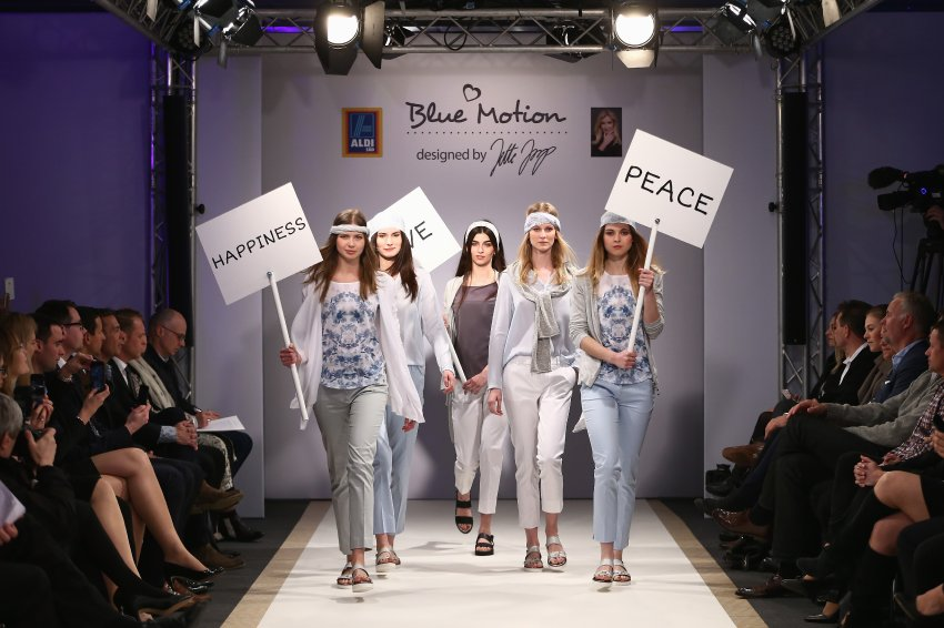 DUESSELDORF, GERMANY - APRIL 05: Models walk the runway at the ALDI SUED Blue Motion by Jette Joop fashion show on April 5, 2016 in Duesseldorf, Germany. (Photo by Andreas Rentz/Getty Images)