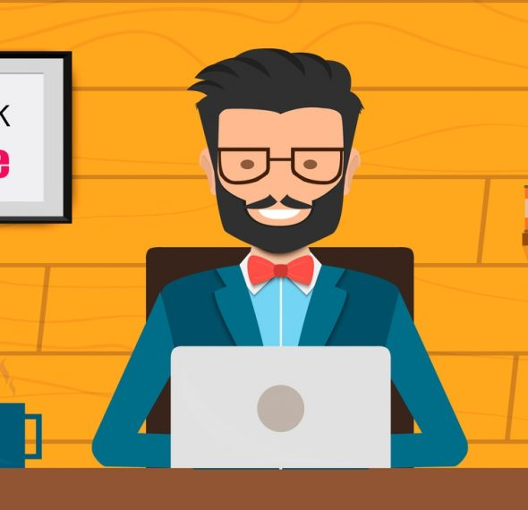 Freelancer at work flat web infographic concept vector. Build your own world creative people collection.