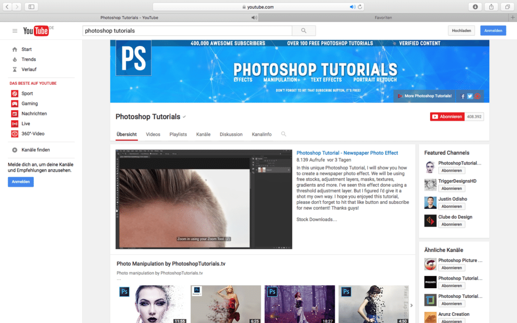 YouTube_Photoshop PSD Tutorials