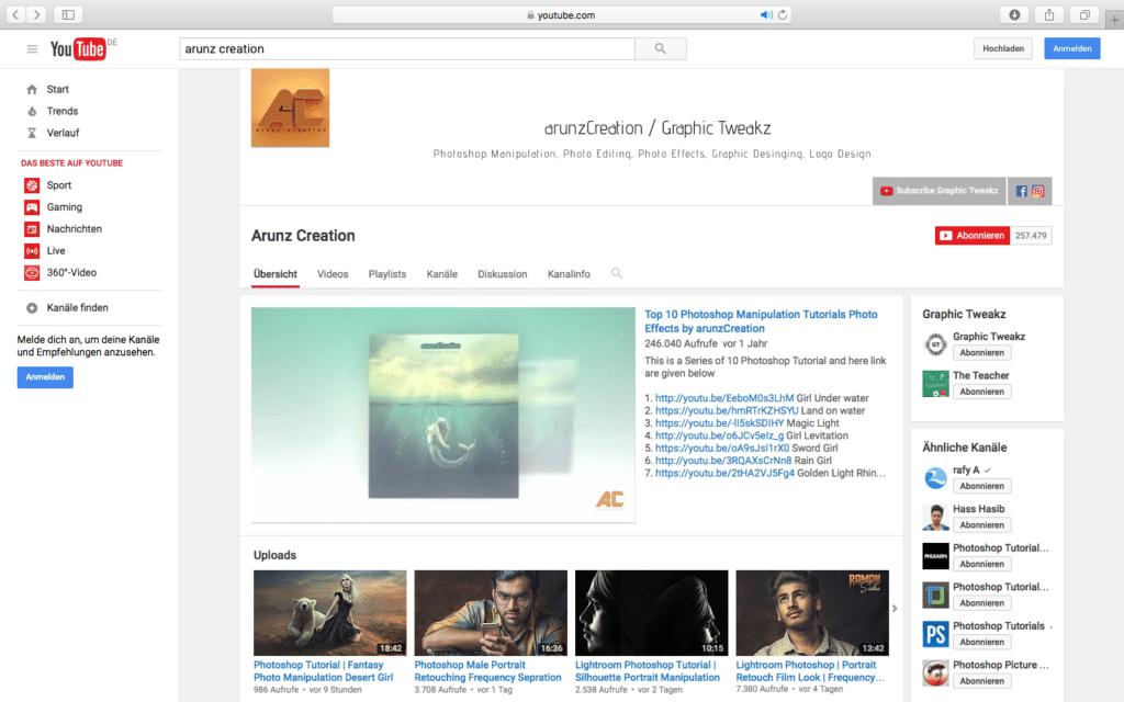 YouTube Arunz Creation PSD Tutorials