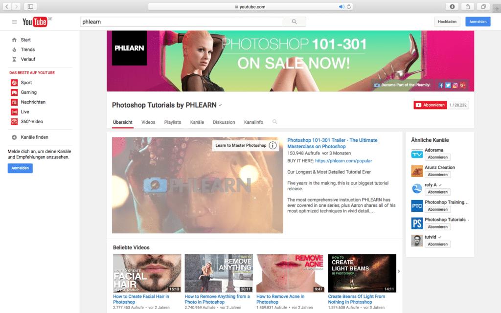 YouTube Phlearn PSD Tutorials