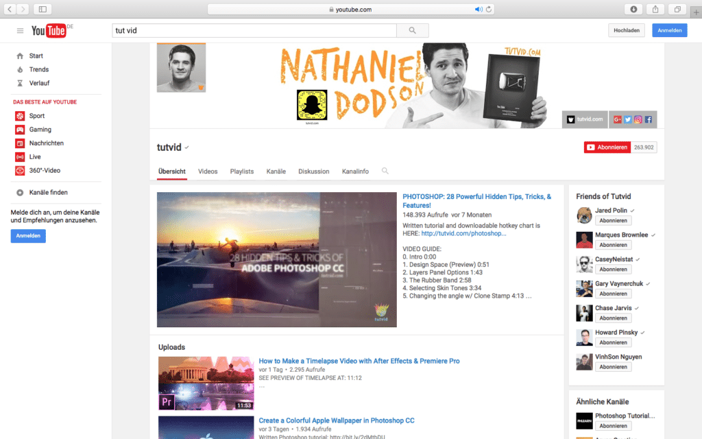 YouTube Tutvid PSD Tutorials