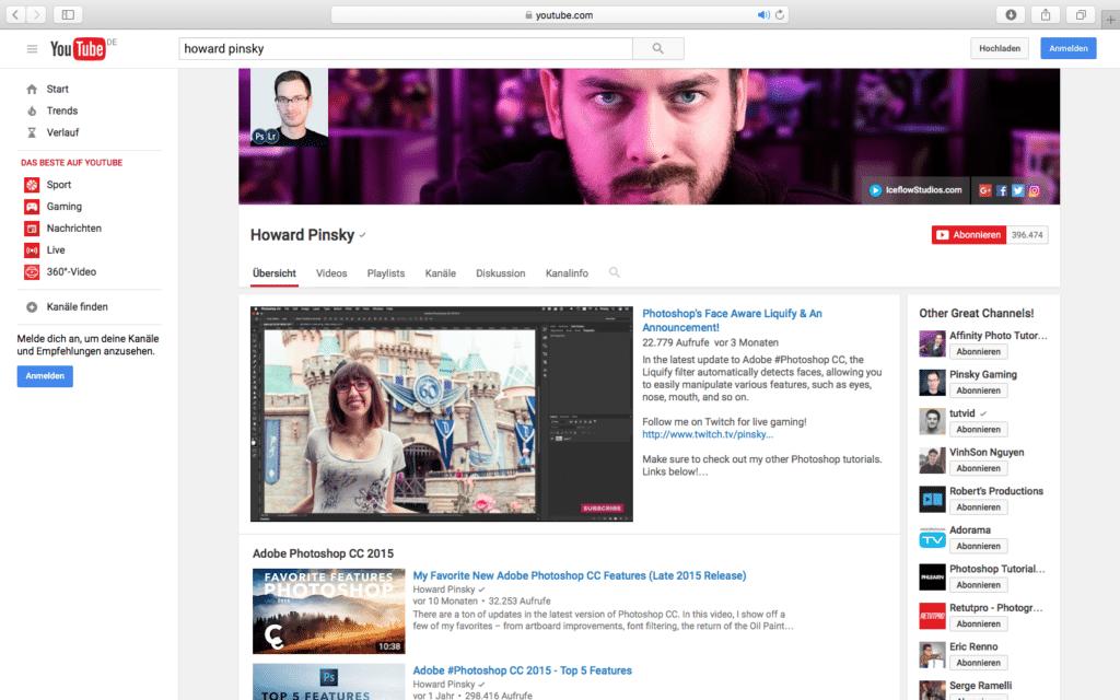 YouTube Howard Pinsky PSD Tutorials