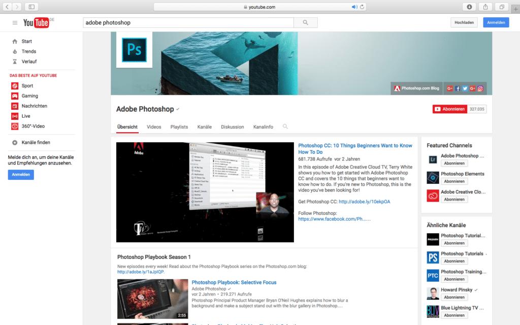 YouTube Adobe PSD Tutorials