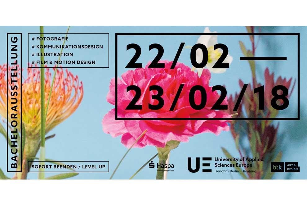 Ausstellung Sofort beenden / Level up Flyer