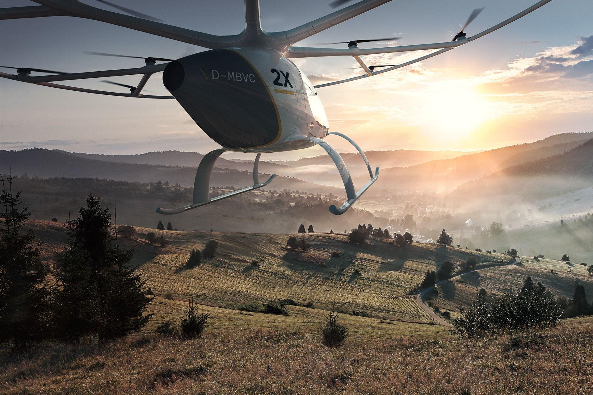 Volocopter über Landschaft