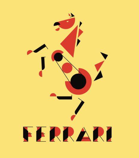 Ferrari Logo im Bauhasstil